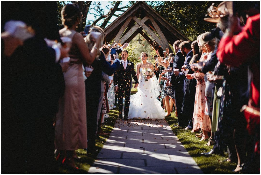 wooden arch at outdoor millbridge court wedding